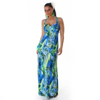 ELEGANT MAXI DRESS WITH FLOWER DESIGN BLUE/GREEN UK 10/12