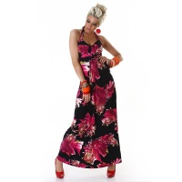 ELEGANT MAXI DRESS WITH FLOWER DESIGN BLACK/FUCHSIA