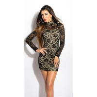 PRECIOUS LACE MINIDRESS WITH STAND-UP COLLAR BLACK/BEIGE