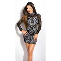 PRECIOUS LACE MINIDRESS WITH STAND-UP COLLAR BLACK/WHITE