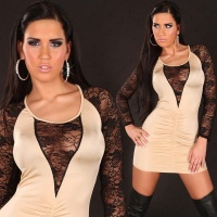 ELEGANT MINIDRESS EVENING DRESS WITH LACE BEIGE