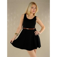 ELEGANT MINIDRESS WITH BELT BLACK