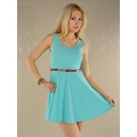 ELEGANT MINI DRESS WITH BELT TURQUOISE