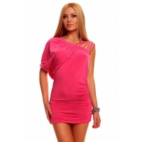 SEXY MINIDRESS WITH RUFFLES CLUBWEAR FUCHSIA