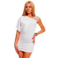 SEXY MINIDRESS WITH RUFFLES CLUBWEAR WHITE