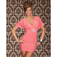ELEGANT MINIDRESS WITH RHINESTONE-BUCKLE CORAL