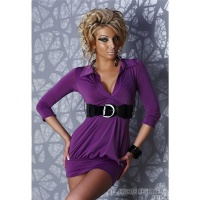 ELEGANT MINI DRESS WITH BELT PURPLE