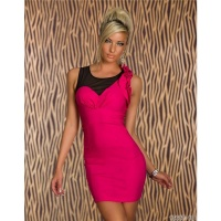 ELEGANT MINIDRESS WITH FLOUNCES AND TULLE FUCHSIA/BLACK