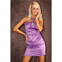 ELEGANT HALTERNECK EVENING DRESS SATIN PURPLE