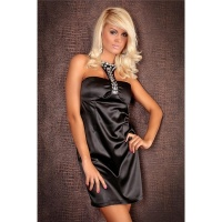 ELEGANT HALTERNECK EVENING DRESS SATIN BLACK UK 8/10 (S/M)