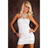 ELEGANT HALTERNECK EVENING DRESS SATIN RHINESTONES WHITE