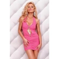 ELEGANT HALTERNECK MINIDRESS WITH RHINESTONES FUCHSIA UK 8/10 (S/M)