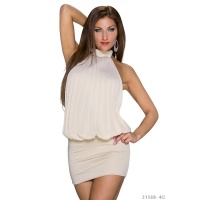 ELEGANT HALTERNECK PARTY MINI DRESS WITH RHINESTONES BEIGE