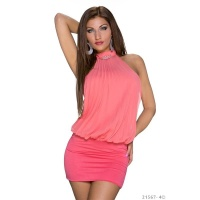 ELEGANT HALTERNECK PARTY MINIDRESS WITH RHINESTONES CORAL