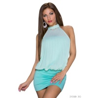 ELEGANT HALTERNECK PARTY MINIDRESS WITH RHINESTONES MINT GREEN