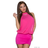 ELEGANT HALTERNECK PARTY MINIDRESS WITH RHINESTONES FUCHSIA