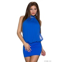 ELEGANT HALTERNECK PARTY MINI DRESS WITH RHINESTONES ROYAL BLUE Onesize (UK 8,10,12)