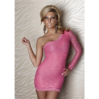 SEXY ONE-SHOULDER EVENING DRESS MADE OF LACE FUCHSIA UK 8/10 (S/M)