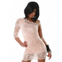SEXY ONE-SHOULDER EVENING DRESS MADE OF LACE PINK