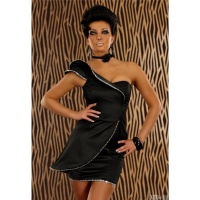 ELEGANTES ONE-SHOULDER ABENDKLEID MINIKLEID AUS SATIN...