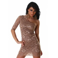 SEXY ONE-SHOULDER LACE EVENING DRESS CAPPUCCINO UK 10/12 (M/L)