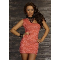 ELEGANT ONE-SHOULDER EVENING DRESS MINIDRESS LACE CORAL