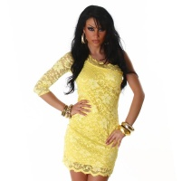 SEXY ONE-SHOULDER LACE EVENING DRESS YELLOW UK 8/10 (S/M)