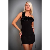 ELEGANTES ONE-SHOULDER ABENDKLEID MINIKLEID SCHWARZ