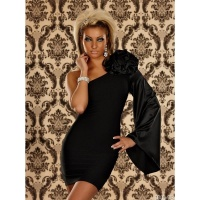 ELEGANT ONE-SHOULDER EVENING DRESS WITH SATIN BLACK