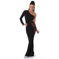 ELEGANT ONE-SHOULDER DIVA EVENING DRESS GOWN WITH LACE BLACK