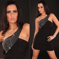 ELEGANT ONE-SHOULDER MINIDRESS WITH RHINESTONES BLACK