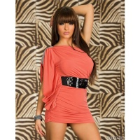 ELEGANT ONE-SHOULDER MINIDRESS WITH BELT ORANGE