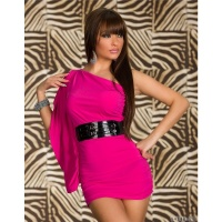 ELEGANT ONE-SHOULDER MINIDRESS WITH BELT FUCHSIA