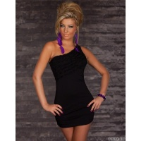 ELEGANT ONE-SHOULDER MINIDRESS WITH FRILLS BLACK