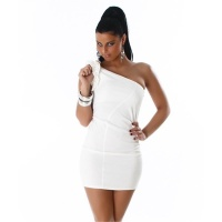 ELEGANT ONE-SHOULDER MINIDRESS WITH QUILLINGS WHITE