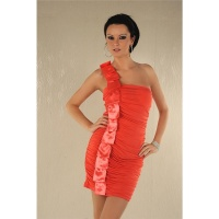 ELEGANT ONE-SHOULDER MINIDRESS WITH SATIN SALMON