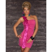 ELEGANT ONE-SHOULDER MINIDRESS WITH SATIN FUCHSIA
