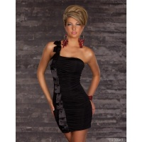 ELEGANT ONE-SHOULDER MINIDRESS WITH SATIN BLACK