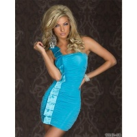 ELEGANT ONE-SHOULDER MINIDRESS WITH SATIN TURQUOISE BLUE