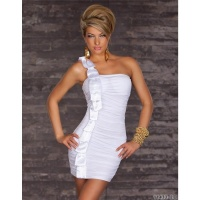 ELEGANTES ONE-SHOULDER MINIKLEID MIT SATIN WEISS