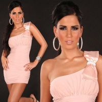 ELEGANT ONE-SHOULDER MINI DRESS WITH RHINESTONE LOOP ANTIQUE PINK UK 10 (M)