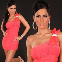 ELEGANT ONE-SHOULDER MINI DRESS WITH RHINESTONE LOOP RASPBERRY UK 10 (M)