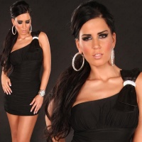 ELEGANT ONE-SHOULDER MINI DRESS WITH RHINESTONE LOOP BLACK UK 10 (M)