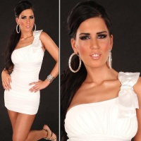ELEGANT ONE-SHOULDER MINIDRESS WITH RHINESTONE LOOP WHITE UK 10 (M)