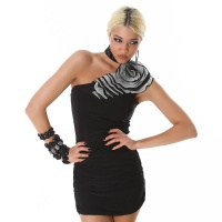 ELEGANT ONE-SHOULDER MINIDRESS WITH BLOOM BLACK