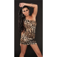 ELEGANT ONE-SHOULDER MINIDRESS PARTY DRESS LEOPARD-LOOK