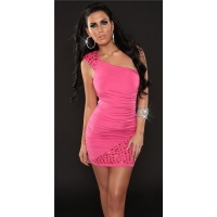 ELEGANT ONE-SHOULDER MINIDRESS PARTY DRESS FUCHSIA