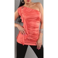 ELEGANT ONE-SHOULDER TOP WITH FLOUNCES CORAL