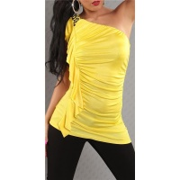ELEGANT ONE-SHOULDER TOP WITH FLOUNCES YELLOW