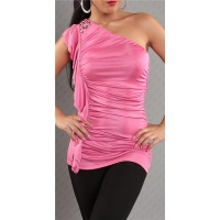 ELEGANTES ONE-SHOULDER TOP MIT VOLANTS PINK